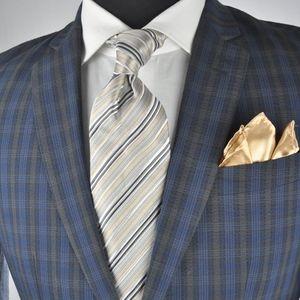 John Varvatos Navy & Gray Modern 2Btn Suit